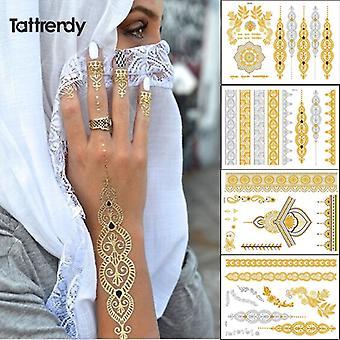 4db új indiai arab design Golden Silver Flash Törzsi Henna Tattoo Paste Metalicos Színes Fém Tetoválás Set Body Hand Bride Hot
