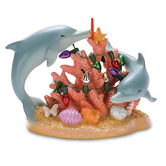 Nautical Dolphins Swimming in Ocean Coral Decorated for Holidays Ornament