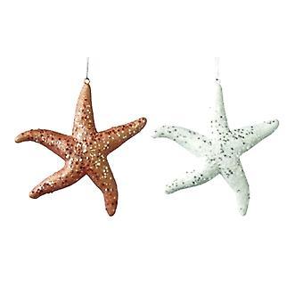 Coastal Glittery Starfish Christmas Holiday Ornaments Set of 2