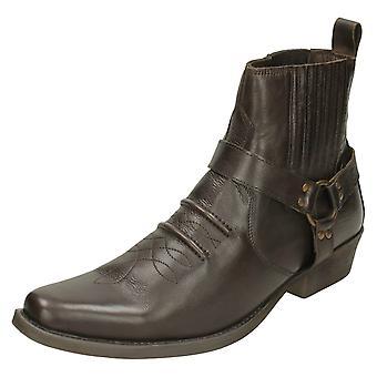 Mens Maverick Cowboy Ankle Boots A3003