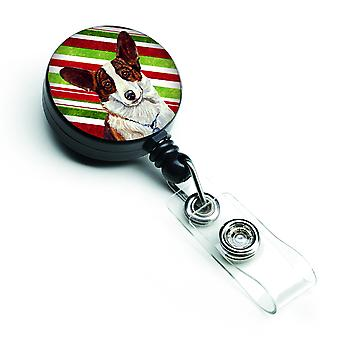 Corgi Candy Cane Holiday Christmas Retractable Badge Reel