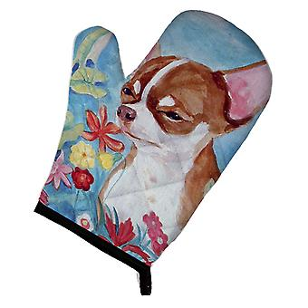 Carolines Treasures  7053OVMT Chihuahua in flowers Oven Mitt