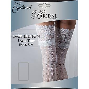 Couture Womens/Ladies Bridal Lace Design Hold Ups (1 Pair)