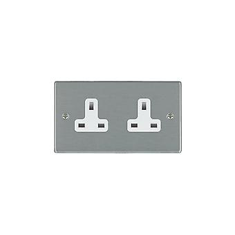 Hamilton Litestat Hartland Satin Stainless 2g 13A Unswitched Socket WH