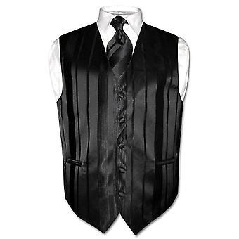 Herren Weste Kleid & Krawatte gewebt Streifendesign Hals Krawatte Set