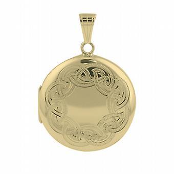 9ct Gold 29mm round Celtic hand engraved Locket