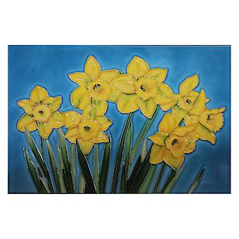 YH Arts Ceramic Wall Art, Daffodils 8 x 12