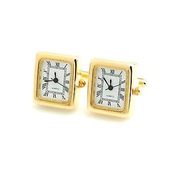 Mens pracy ton złota kwadratowy zegar zegarek spinki ślubne formalną działalność