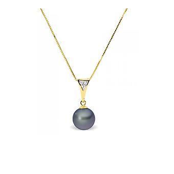 Kjede anheng Pearl kultur vann myk svart, diamanter og gult gull 375/1000