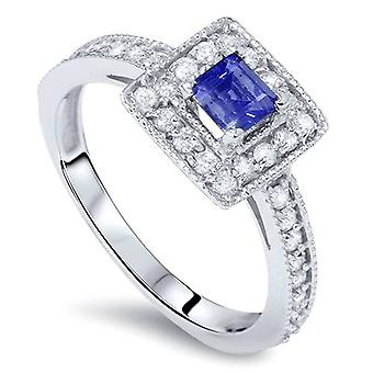 7/8ct Blue Sapphire Princess Cut Halo Diamond Ring 14K White Gold