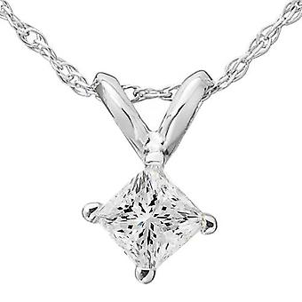 5 / 8ct prinsessa leikattu Solitaire timantti riipus 14K valkokulta