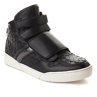 Cuero entrelazada alta superior zapatillas zapatos negro Bottega Veneta hombres