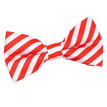 Branco e vermelho fino listra laço gravata