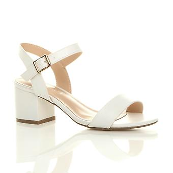 Ajvani womens mid low block heel peep toe ankle strap strappy party sandals