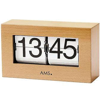 Table clock quartz wood beech solid folding figures fold-out numbers clock