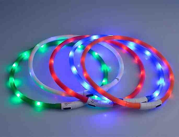 LED Light Colour Collar for Dogs - Rechargeable USB 70 Cm - Blue