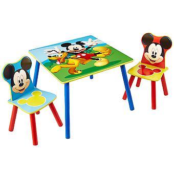 Puinen pöytä ja 2 tuolia Disney Mikki Hiiri