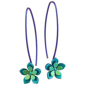 Ti2 Titanium Double Five Petal Flower Drop Earrings - Green