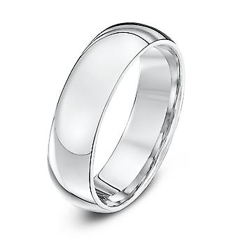 Anéis de casamento estrela 9ct ouro branco Heavy tribunal forma 6mm anel de casamento