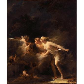 愛の泉、ジャン・ホノレ・フラゴナール、64x51cm