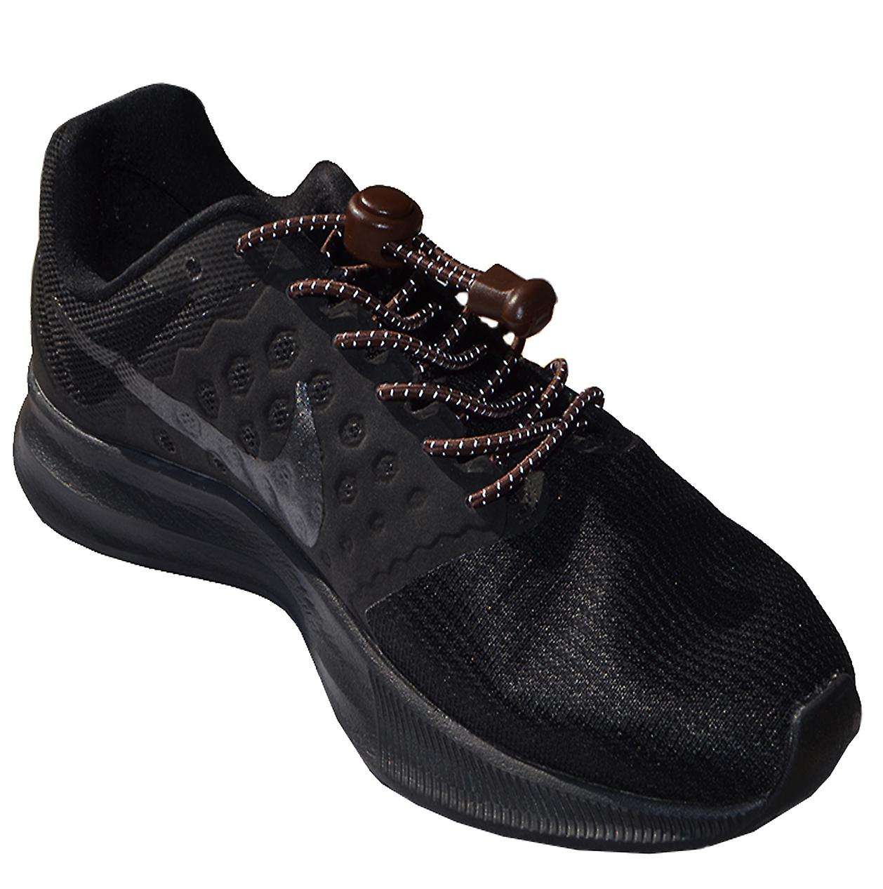 Reflective Brown Elastic Lock Lace