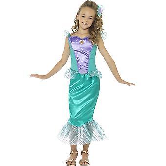 Costume da sirena Deluxe, verde, con abito & fermaglio per capelli