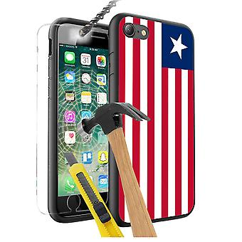 For Apple iPhone 8 Plus - Liberia Flag Design Printed Black Case Skin Cover with Tempered Glass - 0097 by i-Tronixs