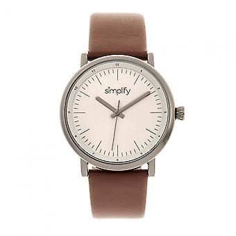 Simplifier la 6200-bracelet cuir montre - gris/brun