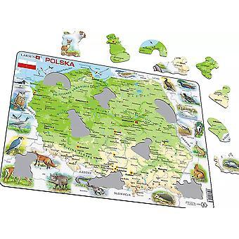 Mapa Polski / Polska z zwierząt - rama/Board Jigsaw Puzzle 29 cm x 37 cm (LRS K98-PL)