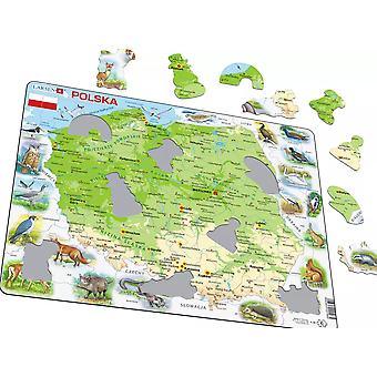 Karta över Polen / Polska med djur - Frame/styrelse Jigsaw pussel 29 x 37 cm (LRS K98-PL)