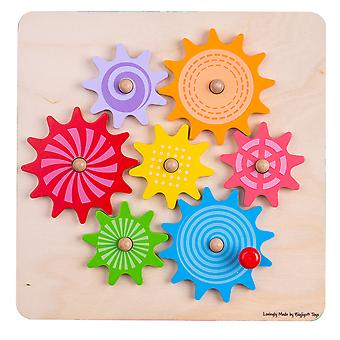 Bigjigs Toys Wooden Gears and Cog Puzzle - Educational Learning Jigsaw