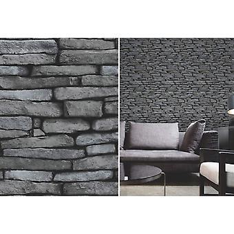 Fijn Decor zwart en zilver leisteen stenen Effect bakstenen muur behang