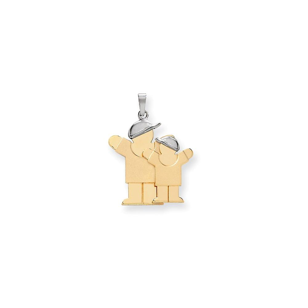 14K Yellow Gold Solid Satin Engravable Kid Boy Charm Pendant