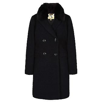 Yumi Womens/Ladies Double Breasted Faux Fur Collar Coat