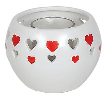 Aroma Cut Out Heart Tealight Holder, Red