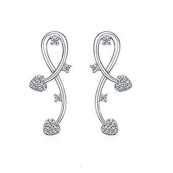 925 Sterling Silver Vine Floral Aaaaa Cz Bridal Earrings
