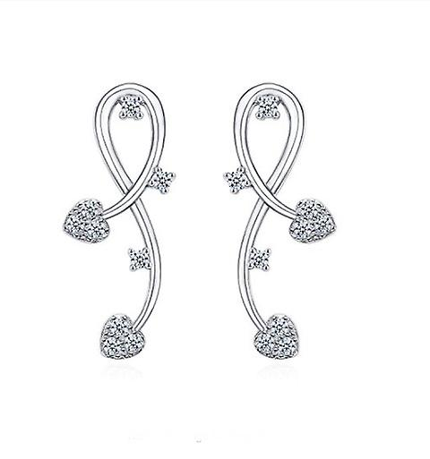 925 Sterling Silver Vine Floral Aaaaa Cz Bridal Earrings
