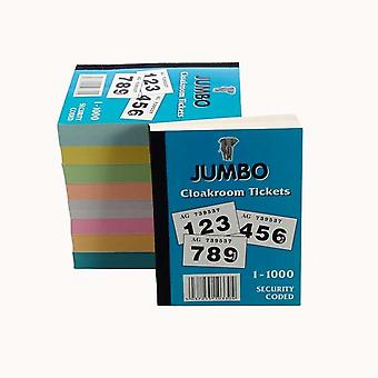 Book of 1000 Raffle / Cloakroom Tickets (Jumbo Brand)