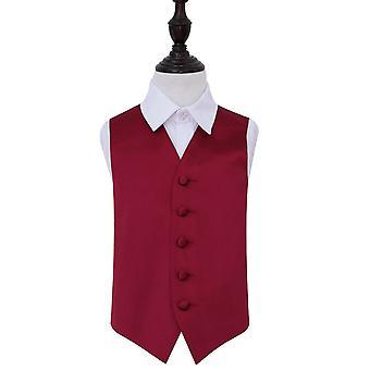 Burgundy Plain Satin Wedding Waistcoat for Boys