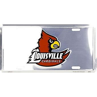 Louisville Cardinals NCAA Silver Mirror License Plate