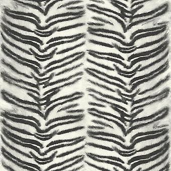 Tiger Zebra Wallpaper Animal Print White Black Fur Faux Paste The Wall Vinyl