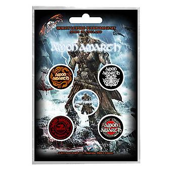 Amon Amarth badge pack viking bandet logotyp Death Metal nya officiella 5 x knappen Fäst