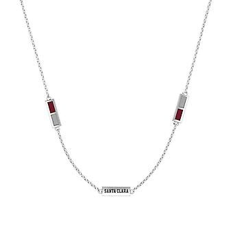Santa Clara University Sterling Silver Engraved Triple Station Necklace In Red & Grey