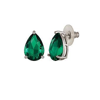 Eternal Collection Seduction Teardrop Emerald Green Crystal Silver Tone Stud Pierced Earrings