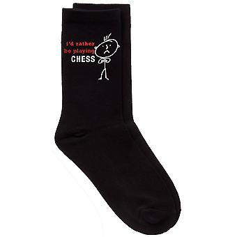 Mens Rather Be Playing Chess Black Calf Socks