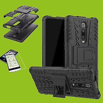 Für Xiaomi Mi 9T / Mi 9T Pro Hybrid Case 2teilig Schwarz + Hartglas Tasche Hülle Cover Hülle
