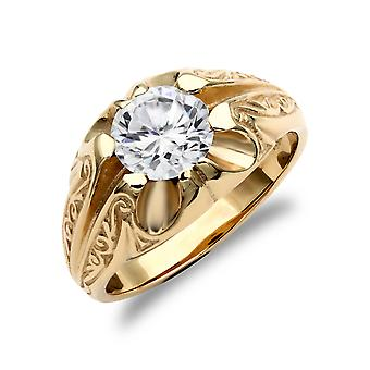 Jewelco London Men's Solid 9ct Yellow Gold White Round Brilliant Cubic Zirconia Solitaire Carved Gypsy Ring
