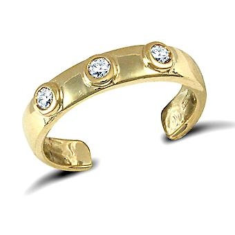 Jewelco London Ladies 9ct Yellow Gold White Round Brilliant Cubic Zirconia Trilogy Band Toe Ring