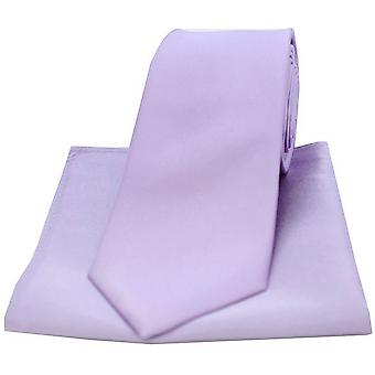 David Van Hagen Satin slips og lomme Square sæt - lys lilla