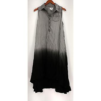OSO Casuals Dress Hi Lo Hem Woven Dip Dye Shirt Style Gray / Black A432923